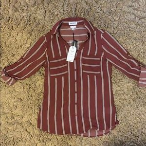 Maroon button down shirt